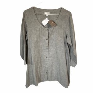 J Jill Pure Heathered Grey Double Cotton Tunic M